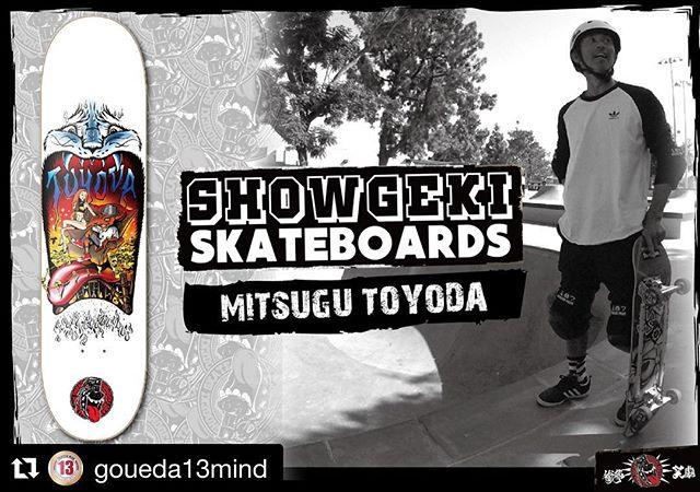 #Repost @goueda13mind with @get_repost・・・#ShowgekiSkateboards#legendary Pro @mitsugutoyoda #RICHRAT Now on sale Size 7.75/8.0/8.25 & 7.275スケートボードシーンにおいて、30年以上 現役プロとして活躍、また現在もアメリカと日本を行き来し、著名な海外ライダーと親交を深め最も激しく活動する51歳、唯一無二の男 #豊田貢 の第二弾 がリリースされました。Santa CruzのグラフィックをToyoda Skateboardsのデザイナーである樋口篤郎さんによってオマージュされたグラフィックは、30代後半から40代のスケーターにとっては至高の逸品である事は間違いない。#13mind